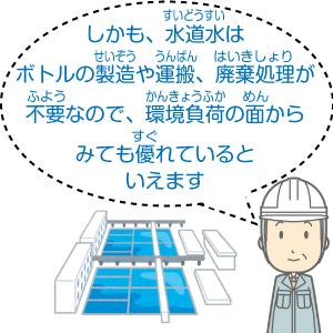 しかも、水道水はボトルの製造や運搬、廃棄処理が不要なので、環境負荷の面からみても優れているといえます